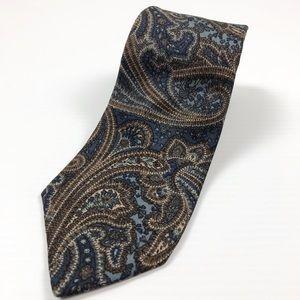 Vintage Christian Dior Blue Brown Paisley Neck Tie